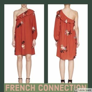 French Connection One Shoulder Ruffle Dress NWT